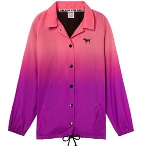 NWT Pink VS Snap Front Coaches Jacket